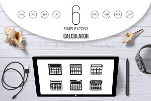Calculator icon set, simple style