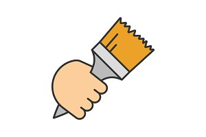 Hand holding paint brush color icon