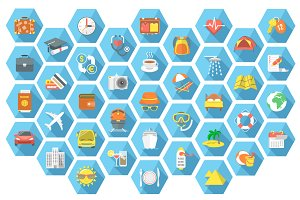Traveling and tourism flat icons