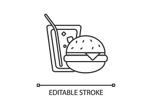 Burger and soda linear icon