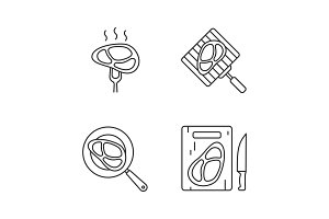Meat preparation linear icons set