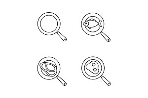 Frying pans linear icons set