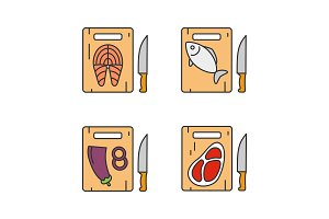 Food cutting color icons set