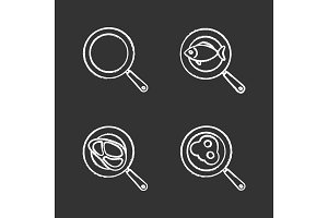 Frying pans chalk icons set