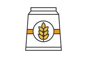 Flour paper bag color icon