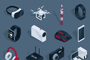 Isometric Technology Devices Set