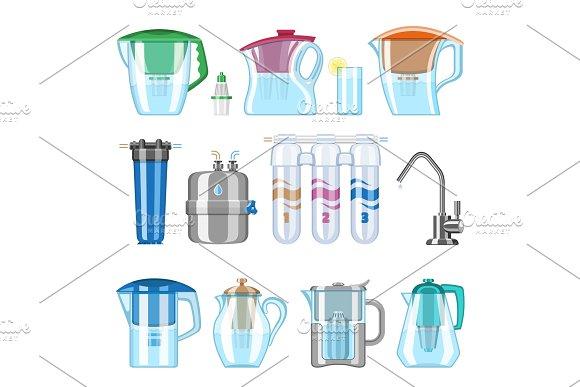 Water filter vector filtering clean