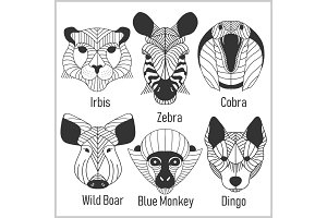 Set of polygonal head animals