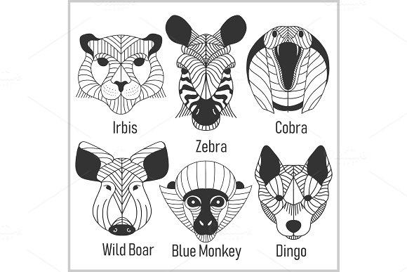 Set of polygonal head animals