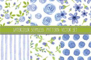 Watercolor seamless pattern.Blue