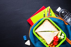 Back to school concept. Lunch box