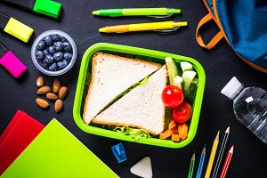 School lunch box, stationery and