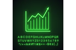 Market growth chart neon light icon