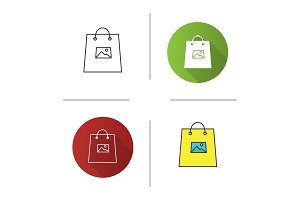 Printing on shopping bags icon