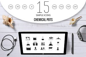 Chemical pots icon set, simple style