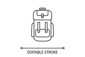Camping backpack linear icon