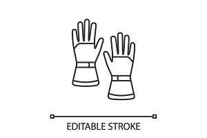 Winter ski gloves linear icon