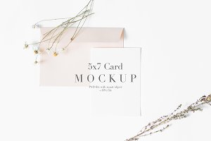 5x7 Card Mockup Pink Envelope
