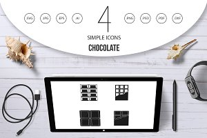 Chocolate icon set, simple style