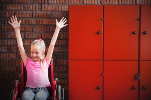 image of cute disabled pupil smiling