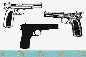 Gun Pistol Svg Weapon set vector eps