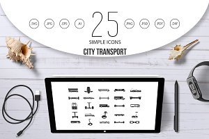 City transport icon set, simple