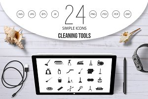 Cleaning tools icon set, simple