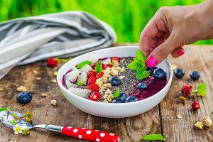 Berry smoothie bowl with superfood