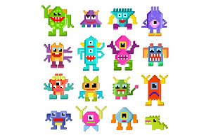 Monster alien vector cartoon pixel