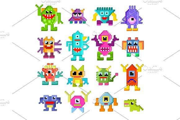 Monster alien vector cartoon pixel in Illustrations