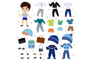 Paper doll vector boy dress up