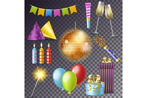Birthday party vector cartoon happy
