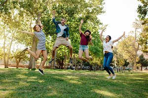 Group of friends enjoying at a park