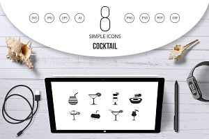 Cocktail icon set, simple style