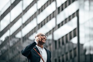 Entrepreneur talking on mobile phone