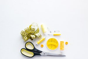 yellow sewing accessories