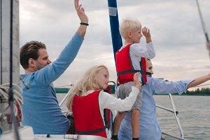 Family enjoying the yacth trip