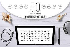 Construction tools icon set, simple