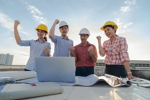 Happy professional construction engi