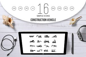 Construction vehicle icon set