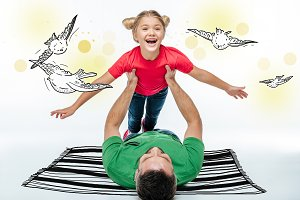 father and daughter having fun toget