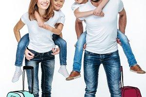 Parents piggybacking happy children