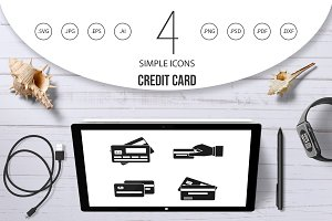 Credit card icon set, simple style
