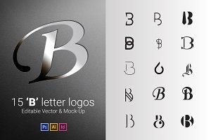 15 B Letter Logos - Vector & Mock-Up
