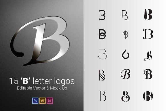 15 B Letter Logos - Vector & Mock-Up