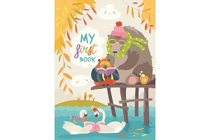 Cute bear ,owl and swans reading