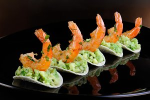 snack of avocado with shrimp