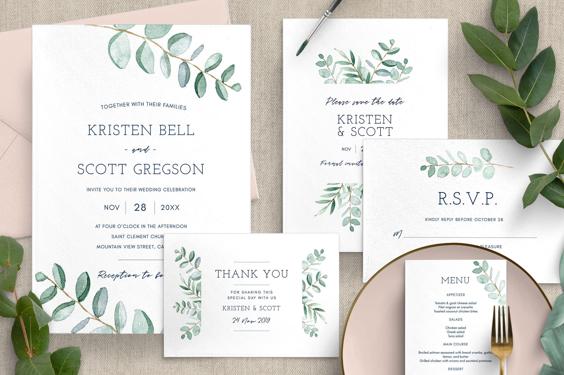 Eucalyptus Wedding Invitation Suite  Creative Illustrator