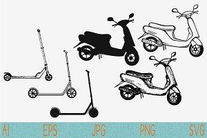 Motor Scooter svg, Kick scooter set