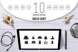 Dress skirt icon set, simple style